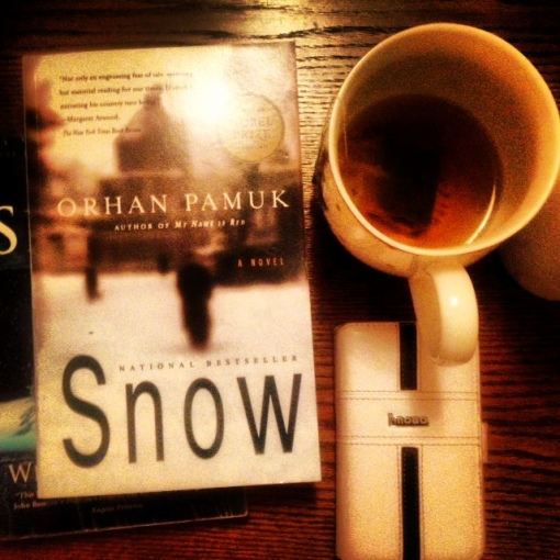 "Now reading ""Snow"" by Orhan Pamuk  So far, so good."