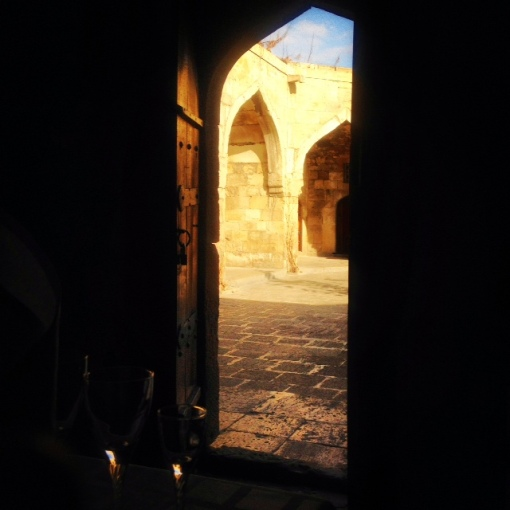 My view from inside the dining room.  I love arched doorways which face more arched doorways.