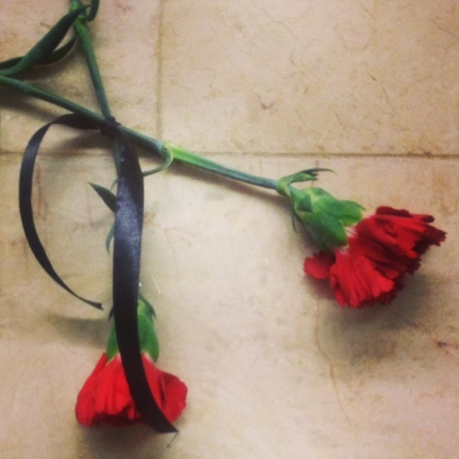 These red carnations are taped all over the Baku metro station walls.